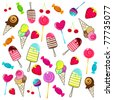 Vector illustration of cute, hand drawn style retro candies background - stock photo