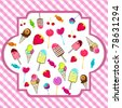 Vector illustration of cute, hand drawn style retro candies background - stock vector