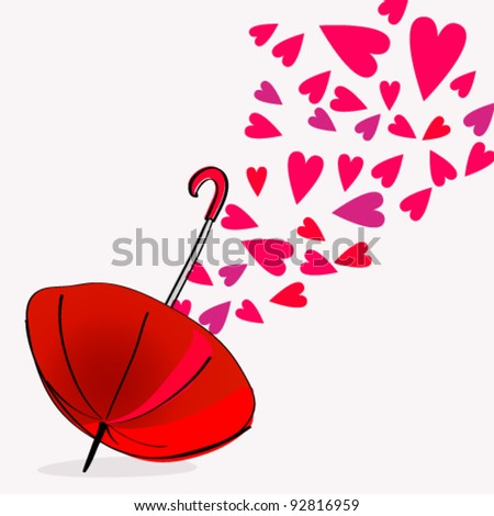 Vector illustration of cute, hand drawn style umbrella with hearts ...