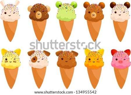 Vector illustration of cute ice cream cones that look like animals. - stock vector