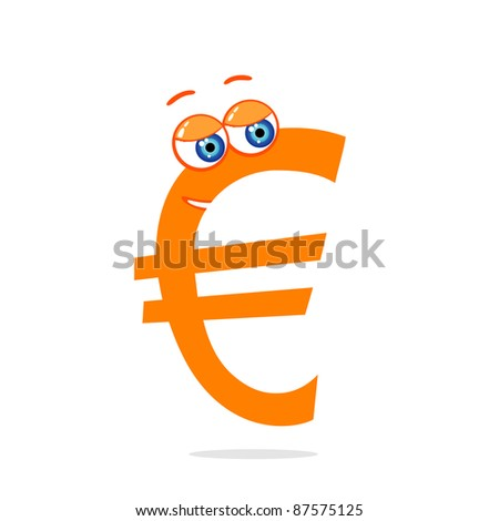 Vector illustration of cute money character euro - stock vector