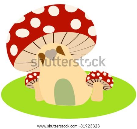 Vector illustration of cute mushroom house - stock vector