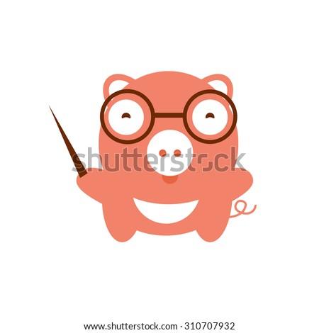 Vector illustration of cute pig. Vector illustration of cartoon farm animal. Cute animal boar teacher. School image piggy teacher glasses. Funny character baby pig - stock vector