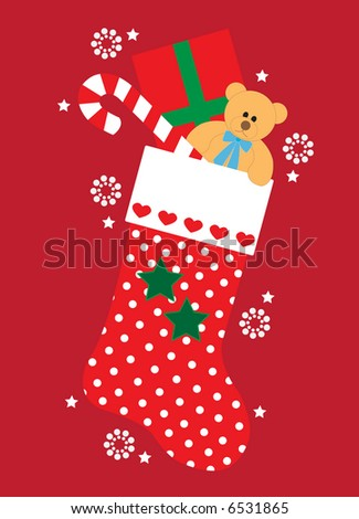 Vector illustration of cute polkadot Christmas stocking with gifts, stars and snowflakes - stock vector