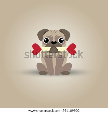 Vector illustration of cute pug with double-hearts bone - stock vector