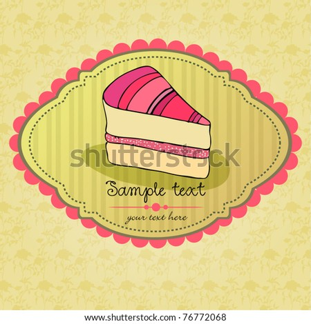 vector illustration of cute retro cake card - stock vector