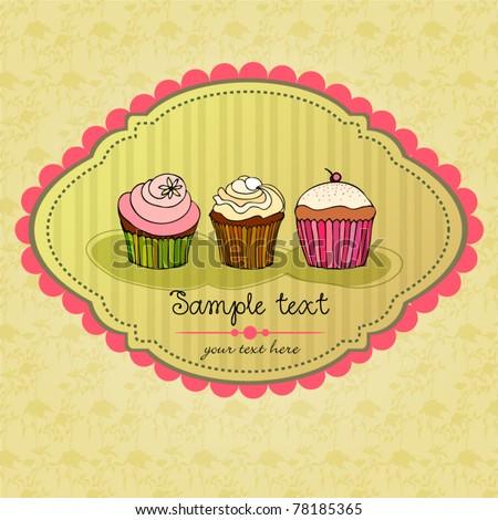 vector illustration of cute retro cupcakes card - stock vector