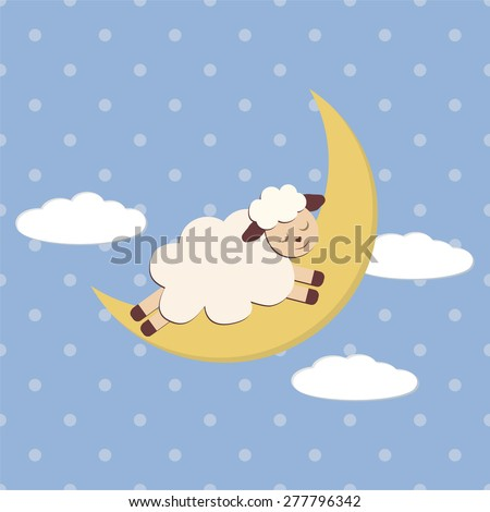 Vector Illustration of cute sheep on moon