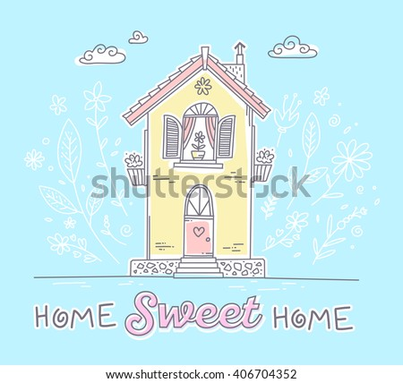 Vector illustration of cute two storey cottage with flowers and inscription of yellow and pink colors on blue background with white clouds. Hand drawn flat line art design to make a greeting card - stock vector