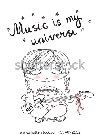 Vector illustration of cute vintage girl playing guitar. Hand drawing lettering. Music is my universe - stock vector