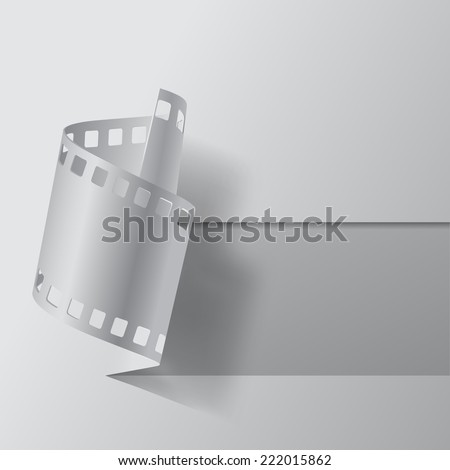 Vector illustration of cutout and paper film stripe on white blank. Movies banner - stock vector