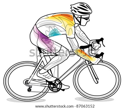 vector illustration of cyclist - stock vector