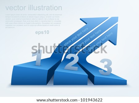 Vector illustration of 3d arrows, logo design - stock vector