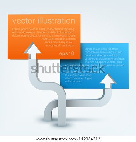 Vector illustration of 3d arrows with blanks - stock vector