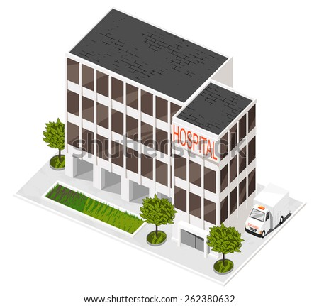 Vector illustration of 3d building. Isometric view of multi-storey building. Can be used as icon of hospital, hotel, mall, business center, factory or dwelling house for games and mobile apps.