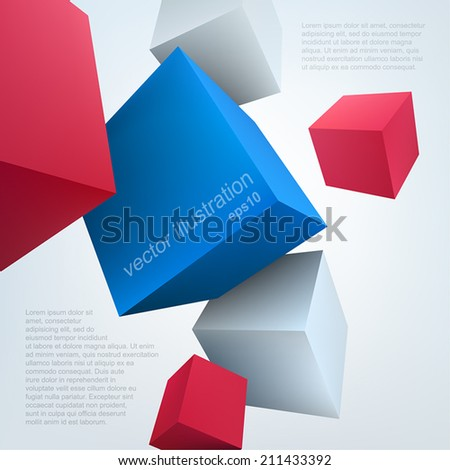Vector illustration of 3d cubes. Background design for banner, poster, flyer, cover, brochure. - stock vector