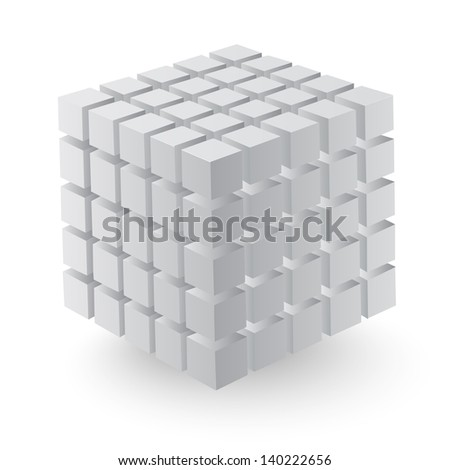 Vector illustration of 3d cubes with architectural plan elements - stock vector