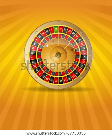 Vector illustration of 3D golden roulette - stock vector
