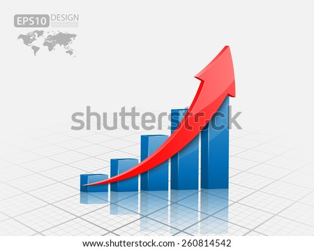Vector illustration of 3d graph - stock vector
