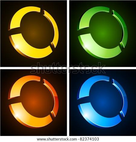 Vector illustration of 3d round symbols. - stock vector