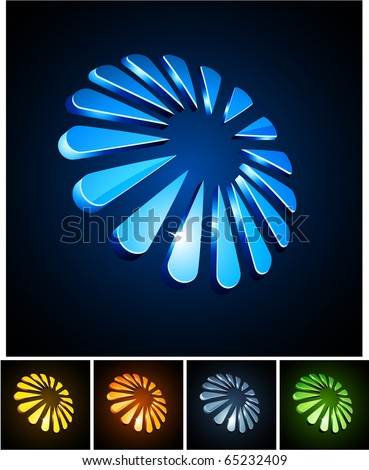 Vector illustration of 3d shiny snowflakes such logos. - stock vector