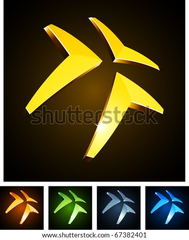 Vector illustration of 3d shiny triangle. - stock vector