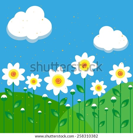 vector illustration of daisies on a background of sky and meadows