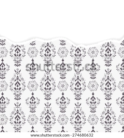 Vector illustration of damask pattern with torn paper - stock vector