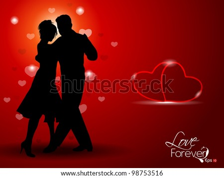 Vector illustration of dancing couple silhouette, on red background having hearts. EPS 10. - stock vector