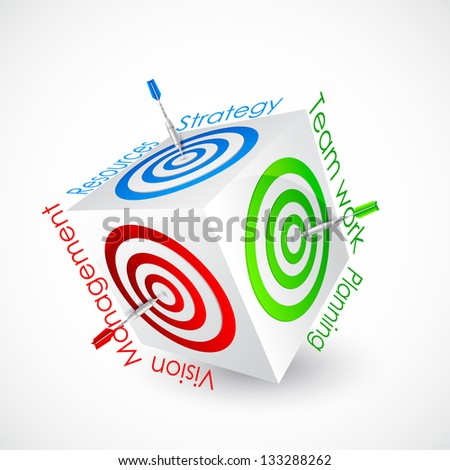 vector illustration of dart aiming business goal - stock vector