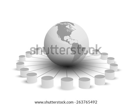 Vector illustration of database integration, different databases connecting globally - stock vector