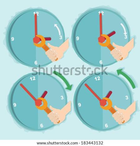 Vector illustration of daylight saving time  - stock vector