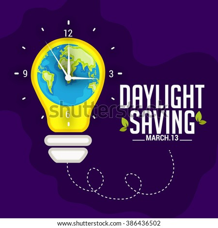 Vector illustration of  Daylight Saving Time on dark blue background with globe and time clock. - stock vector