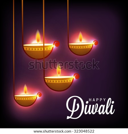 Vector illustration of decorated Diwali diya on shiny golden Background.