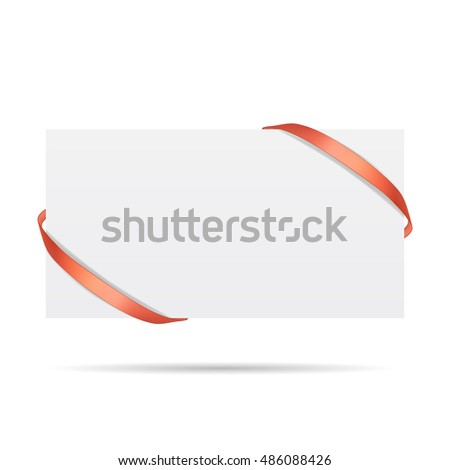 Vector illustration of decorated gift card with red ribbons