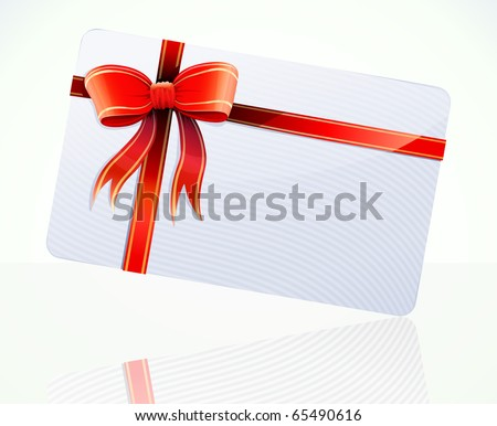Vector illustration of decorated gift card with red ribbons and bow - stock vector