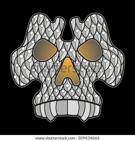 Vector illustration of decorated skull on a black background - stock vector