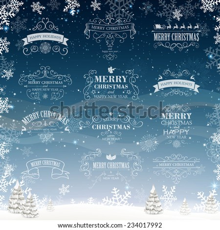 vector illustration of decorative christmas labels - Decorative Christmas Labels