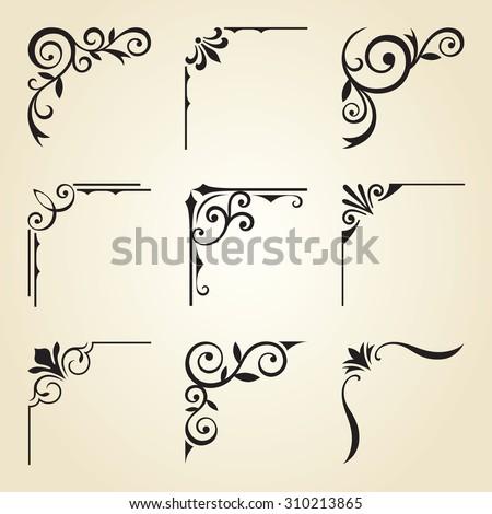 Vector Illustration Decorative Corner Frame Set Stock Vector ...