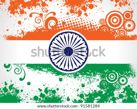 Vector illustration of decorative Indian National Flag having floral and grunge work for Independence Day and Republic Day. - stock vector