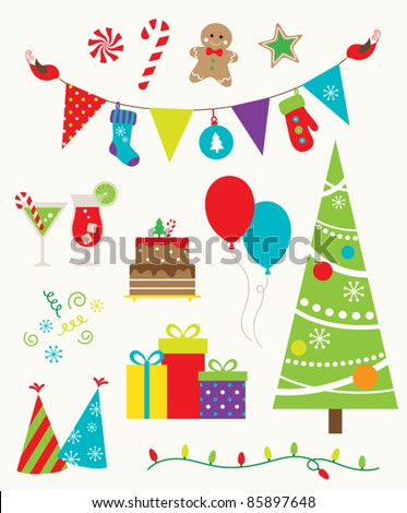 Vector illustration of design elements for Christmas party. - stock vector