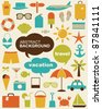 Vector illustration of design elements related to travel and vacation. - stock vector