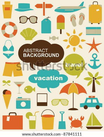 Vector illustration of design elements related to travel and vacation.