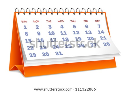 vector illustration of desktop calendar against white - stock vector