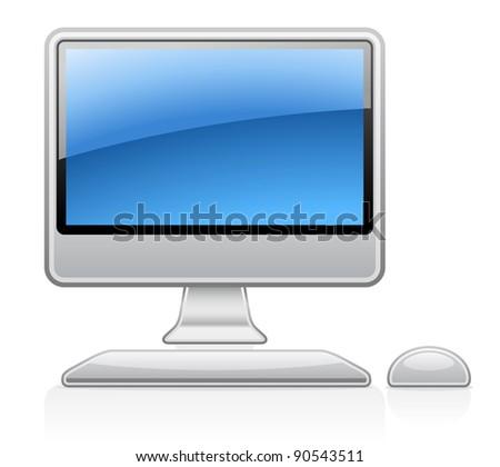 Vector illustration of desktop computer on white background - stock vector