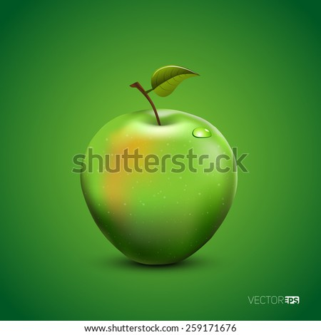 Vector illustration of detailed big shiny green apple on green background - stock vector