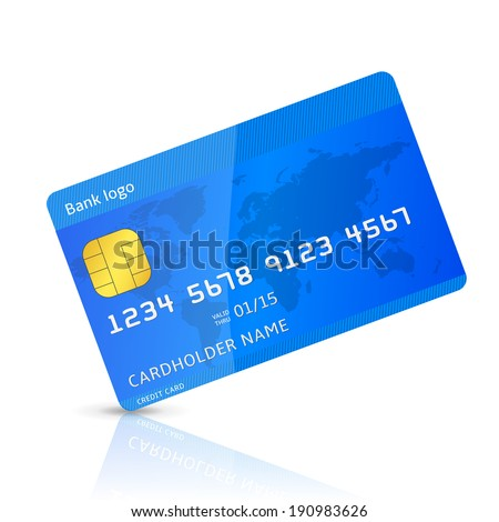 Vector illustration of detailed blue credit card isolated on white background