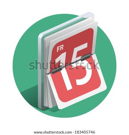 Vector illustration of detailed calendar icon. - stock vector