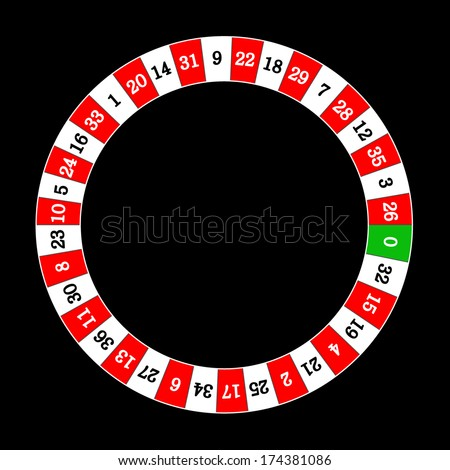 Vector illustration of detailed casino roulette wheel, isolated on black background. Red and white edition. - stock vector