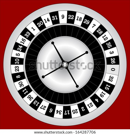 Vector illustration of detailed casino roulette wheel, isolated on dark background.  - stock vector